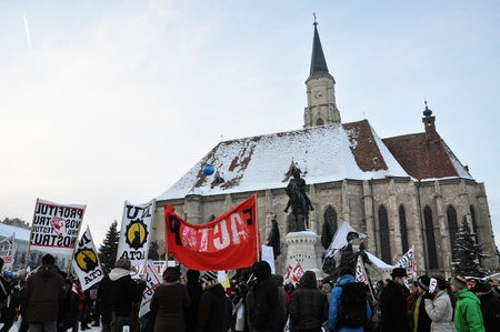 CLUJ NAPOCA – FEBRUARY 11: Hundreds of people protest against ACTA, against web piracy treaty, and the government in Cluj Napoca, on February 11, 2012 in Cluj Napoca, Romania Stock Photo - 12257727