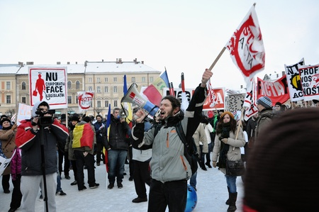 CLUJ NAPOCA – FEBRUARY 11: Hundreds of people protest against ACTA, against web piracy treaty, and the government in Cluj Napoca, on February 11, 2012 in Cluj Napoca, Romania Stock Photo - 12257723