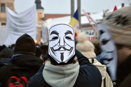 CLUJ NAPOCA – FEBRUARY 11: Hundreds of people protest against ACTA, against web piracy treaty, and the government in Cluj Napoca, on February 11, 2012 in Cluj Napoca, Romania Stock Photo - 12257722