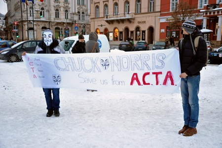 anti piracy: CLUJ NAPOCA – FEBRUARY 11: Hundreds of people protest against ACTA, against web piracy treaty, and the government in Cluj Napoca, on February 11, 2012 in Cluj Napoca, Romania