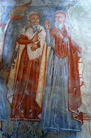 fresco: Ancient fresco, murals in Ghelinta  Gelence  church  Transylvania, Romania  Stock Photo