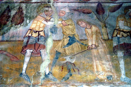 Ancient fresco, murals in Ghelinta  Gelence  church  Transylvania, Romania  photo
