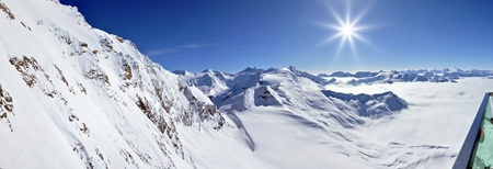 Panorama winter view from Kitzsteinhorn peak ski resort, Austrian Alps photo