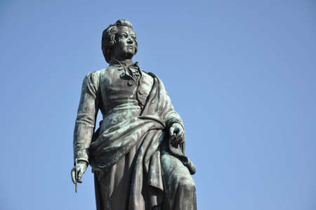 amadeus mozart: The statue of the famous composer Wolfgang Amadeus Mozart in Salzburg, Austria  Stock Photo
