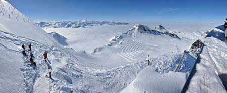 KITZSTEINHORN – CCA. MARCH: Panorama with unidentified skiers who are enjoying the last ski week of the season in Kitzsteinhorn, in March, 2012 in Kitzsteinhorn, Austria