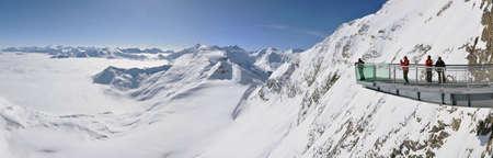 wintersport: KITZSTEINHORN – CCA. MARCH: Panorama with unidentified skiers who are enjoying the last ski week of the season in Kitzsteinhorn, in March, 2012 in Kitzsteinhorn, Austria