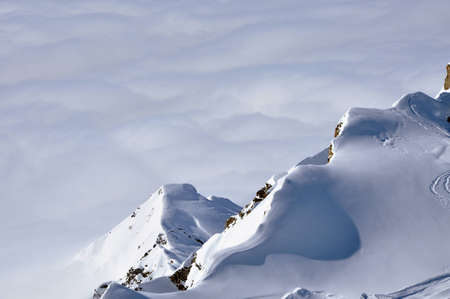 Beautiful snow covered mountain ridge in the Austrian Alps  Kitzsteinhorn, Austria photo