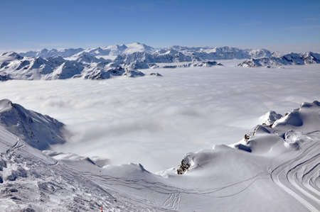 Winter view from Kitzsteinhorn peak, near to Kaprun ski slopes, Austria photo