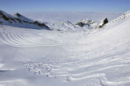 Slopes in Kitzsteinhorn ski resort near Kaprun, Austrian Alps photo