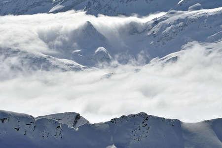 kitzsteinhorn: Winter view from Kitzsteinhorn peak ski resort, Austrian Alps Stock Photo