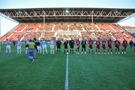 galati: CLUJ NAPOCA, ROMANIA - MARCH 26: Ceremony at the beginning of CFR Cluj - Otelul Galati match, March 26, 2012 in Cluj Napoca, Romania