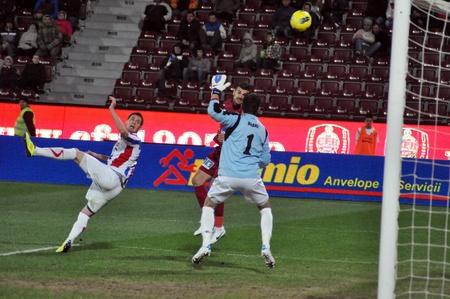 CLUJ-NAPOCA, ROMANIA – MARCH 26: Goalkeeper Branet C. in action at a Romanian National Championship soccer game CFR Cluj vs. Otelul Galati, March 26, 2012 in Cluj-N, Romania Redakční