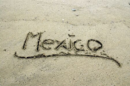 Mexico, letters on sand, vacation concept, ideal for background photo