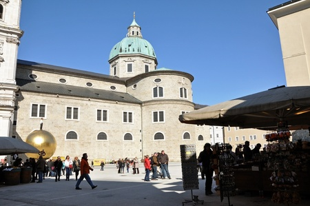 SALZBURG - MARCH 13: The cathedral and the historical center of the famous Unesco heritage city of Salzburg, the city where the W.A. Mozart was born. On March 13, 2012 in Salzburg, Austria Stock Photo - 12993527