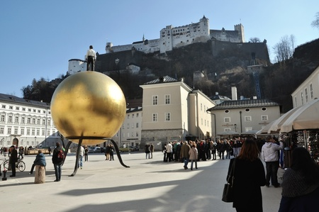 SALZBURG - MARCH 13: Crowds of tourists visiting the historical center of the famous Unesco heritage city of Salzburg, the city where the W.A. Mozart was born. On March 13, 2012 in Salzburg, Austria