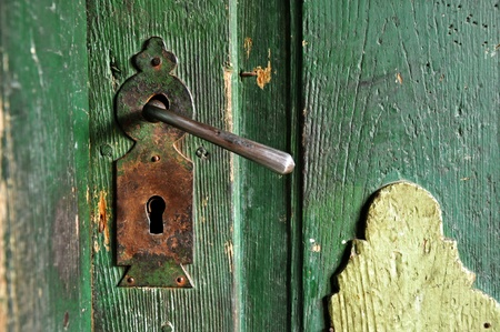 A very old door handle on a wooden door Stock Photo - 13350910