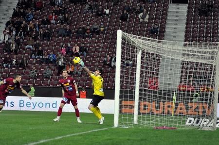 CLUJ-NAPOCA, ROMANIA – APRIL 22: Goalkeeper N. Florin. in action at a Romanian National Championship soccer game CFR Cluj vs. C. Chiajna, April 22, 2012 in Cluj-N, Romania  Redakční