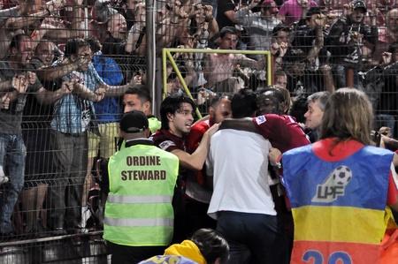 CLUJ NAPOCA, ROMANIA – MAY 11: FC CFR Cluj players celebrate the victory against FC Vointa Sibiu, final score 2:1 on MAY 11, 2012 in Cluj N, Romania  Redakční