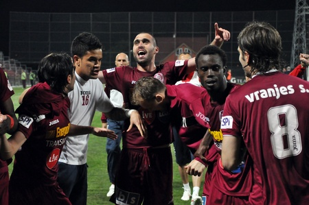 CLUJ NAPOCA, ROMANIA – MAY 11: FC CFR Cluj players celebrate the victory against FC Vointa Sibiu, final score 2:1 on MAY 11, 2012 in Cluj N, Romania