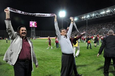 cfr cluj: CLUJ NAPOCA, ROMANIA MAY 20: FC CFR Cluj soccer club managers celebrating the league title , on MAY 20, 2012 in Cluj N, Romania