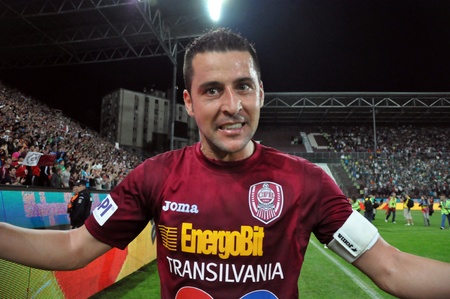 CLUJ NAPOCA, ROMANIA MAY 20: FC CFR Cluj player, Cristian Panin celebrating the new league title and the victory against FC Steaua Bucharest, final score 1:1 on MAY 20, 2012 in Cluj N, Romania