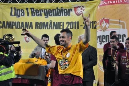 eduard: CLUJ NAPOCA, ROMANIA MAY 20: FC CFR Cluj player, Eduard Stancioiu celebrating the new league title and the victory against FC Steaua Bucharest, final score 1:1 on MAY 20, 2012 in Cluj N, Romania  Editorial