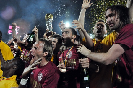 CLUJ NAPOCA, ROMANIA MAY 20: FC CFR Cluj players celebrating the new league title and the victory against FC Steaua Bucharest, final score 1:1 on MAY 20, 2012 in Cluj N, Romania  Redakční