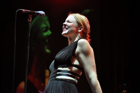 vocalist: CLUJ NAPOCA, ROMANIA - MAY 29: Vocalist Storm Large from Pink Martini pop-jazz band performs live at the Sports Hall of Cluj, Romania, MAY 29, 2012 in Cluj-Napoca, Romania