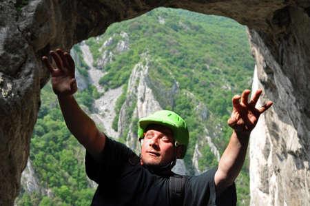rockclimb: Climber faling down from a rock wall