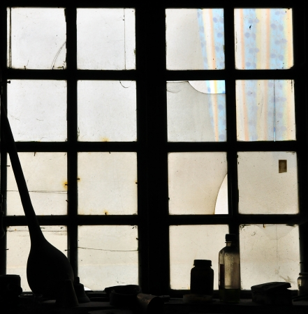 casement: Looking through a window to the outside  Stock Photo