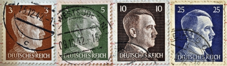 adolf hitler: GERMAN REICH - CIRCA 1942: Different stamps printed in Germany showing the image of Adolf Hitler, series 1942