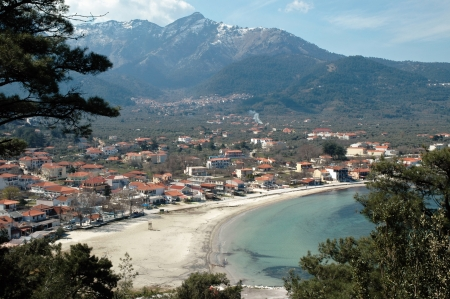 A village on the beach in Thassos island, Greece Stock Photo