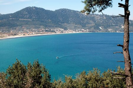thassos: A village on the beach in Thassos island, Greece Stock Photo