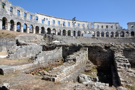 amphitheater: Roman amphitheater, colosseum in Pula, Istria, Croatia