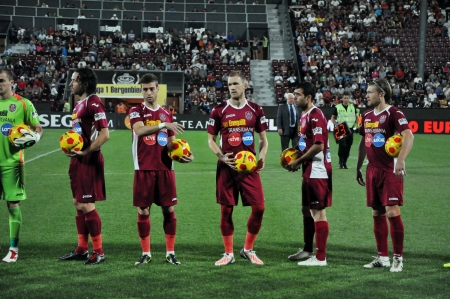 cfr cluj: CLUJ NAPOCA, ROMANIA - SEPTEMBER 2  Ceremony at the beginning of CFR Cluj - Petrolul Ploiesti match, final score 2-2, September 2, 2012 in Cluj Napoca, Romania