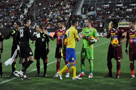 napoca: CLUJ NAPOCA, ROMANIA - SEPTEMBER 2  Ceremony at the beginning of CFR Cluj - Petrolul Ploiesti match, final score 2-2, September 2, 2012 in Cluj Napoca, Romania