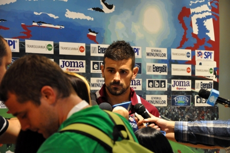 cfr cluj: CLUJ-NAPOCA, ROMANIA - SEPTEMBER 2  Captain of FC CFR Cluj, Ricardo Cadu during a press conference after a match against FC Petrolul Ploiesti, final score 2-2, on Sept 2, 2012 in Cluj-N, Romania