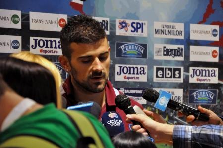 cfr cluj: CLUJ-NAPOCA, ROMANIA - SEPTEMBER 2  Captain of FC CFR Cluj, Ricardo Cadu during a press conference after a match against FC Petrolul Ploiesti, final score 2-2, on Sept 2, 2012 in Cluj-N, Romania