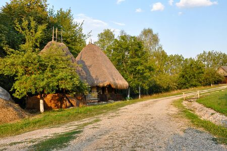 Traditional romanian rural houses from Transylvania photo