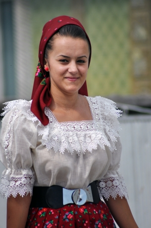IEUD, ROMANIA - CCA. AUGUST, 2012: Celebration of a traditional Romanian wedding in traditional dresses at the Ieud Village Festival Days, at  August, 2012, in  Ieud, Maramures, Romania  Stock Photo - 16377929