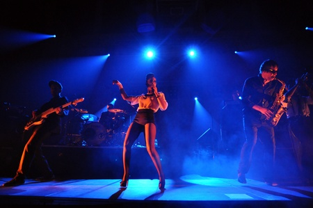 nu: Parov Stelar Band performs live on the stage at Sport Editorial