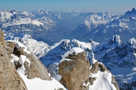 Marmolada ski area at winter, Dolomite, Italy, Europe photo