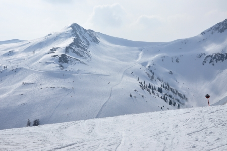 Slopes in Saalbach ski resort near Kaprun, Austrian Alps  photo