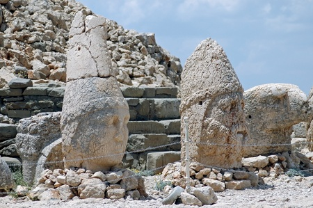 toppled: Toppled heads of the gods at the top of Mount Nemrut in Turkey