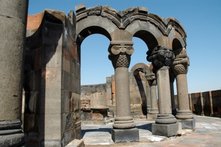 The ruins of Zvarnots cathedral, Echmiadzin, Armenia photo