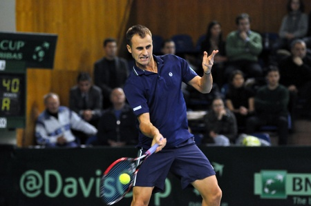 Marius Copil in action at a Davis Cup match, Romania wins against Denmark with 2:0
