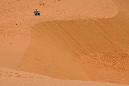 Red Sand Dunes in Mui Ne, Vietnam  photo