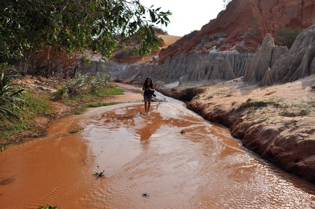 stratification: The Fairy stream near Mui Ne, Vietnam