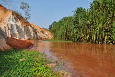 Red river between rocks and jungle, Mui Ne, Vietnam photo