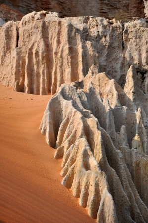 stratification: Rock pinnacles at the Fairy stream, Mui Ne, Vietnam